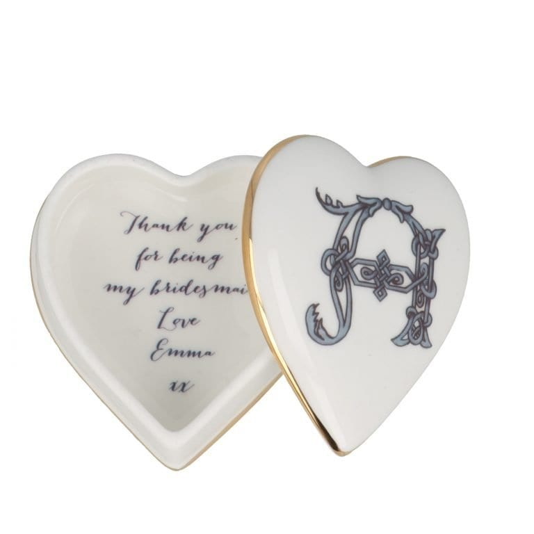 Heart shaped trinket box open