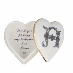 Heart shaped trinket box open