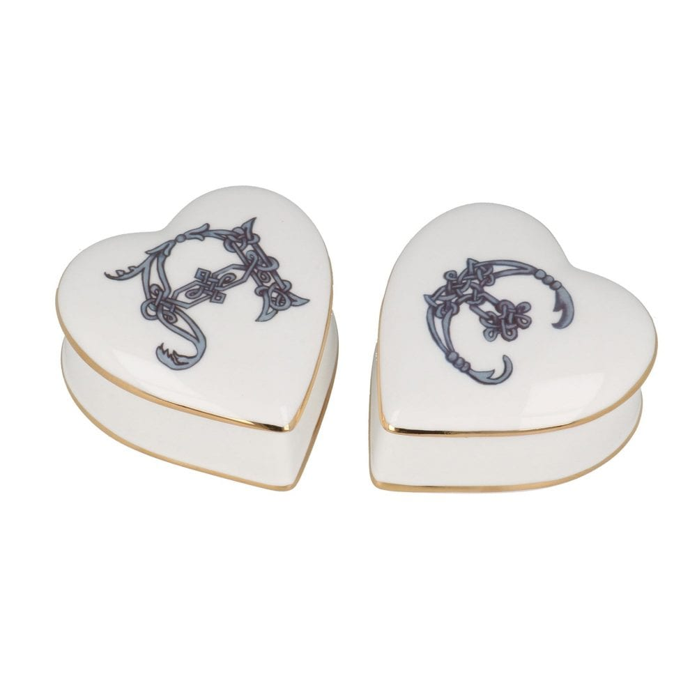 Heart shaped English Bone China trinket boxestrinket