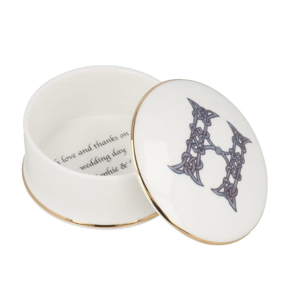 Round trinket box with letter H