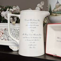 Two pint jug with wedding invitation
