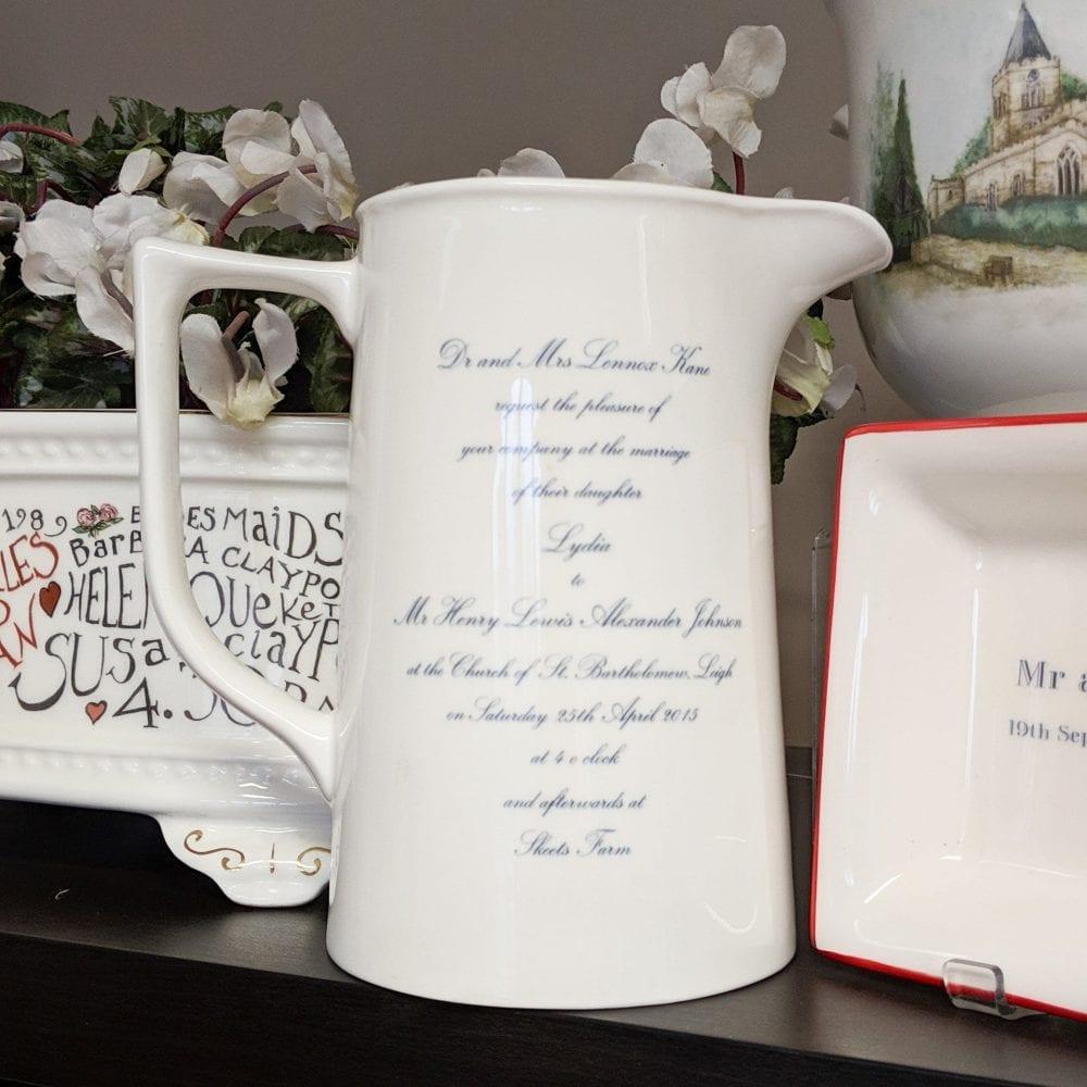 Two pint jug with wedding invitation