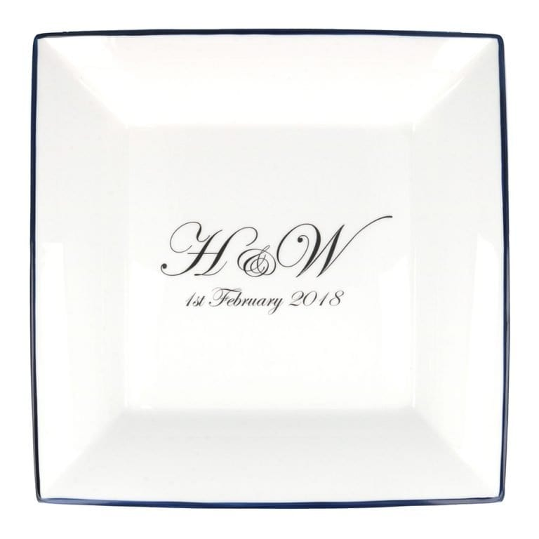 Large square dish with initials of bride and groom and wedding date