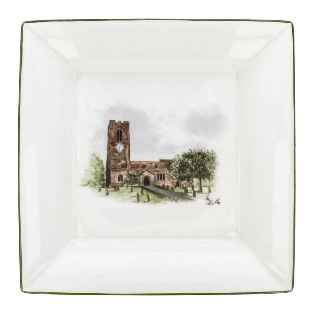 Hand painted wedding venue on a large square dish