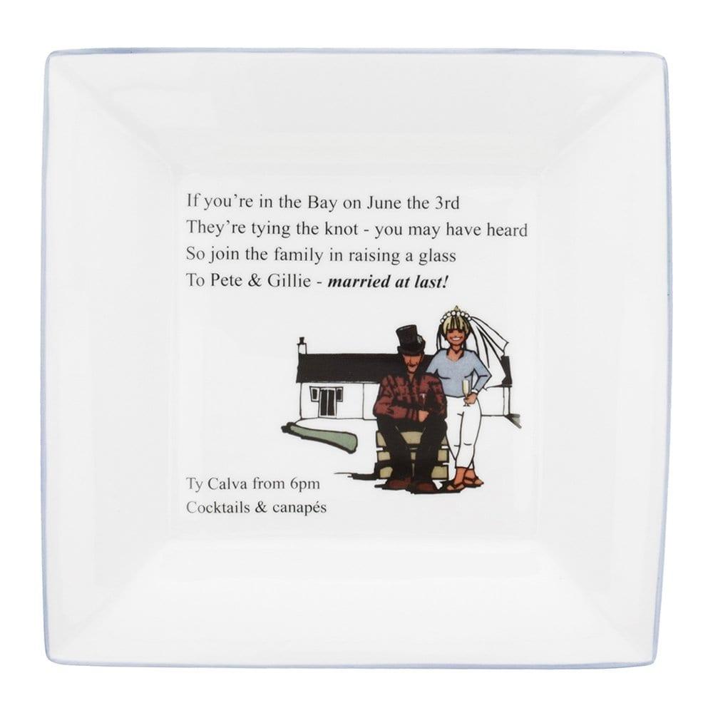 large square dish personalised with wedding invitation