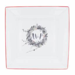 Wedding invitation on a large square dish WP