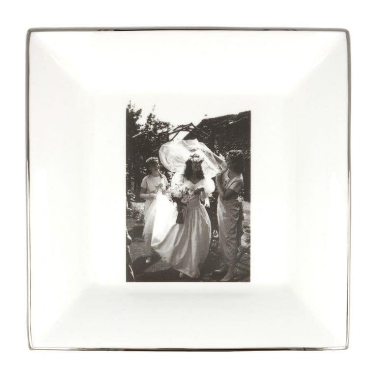 wedding photograph on a large square china dish