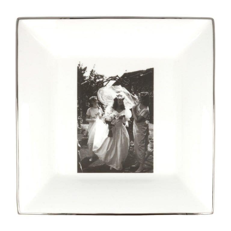 wedding photograph on a large square china dish