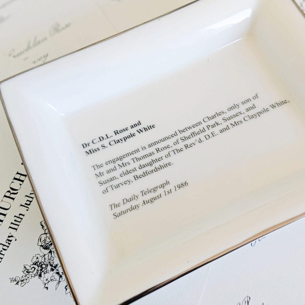 Wedding announcement on a rectangular dish lifestyle image