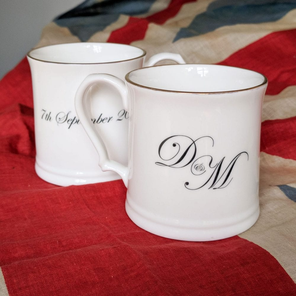 Wedding mugs with wedding date and couple's initials