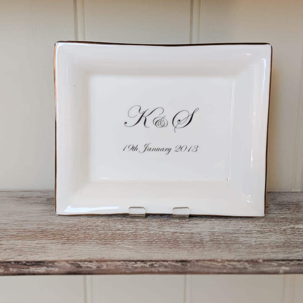 Wedding Initials on Dish