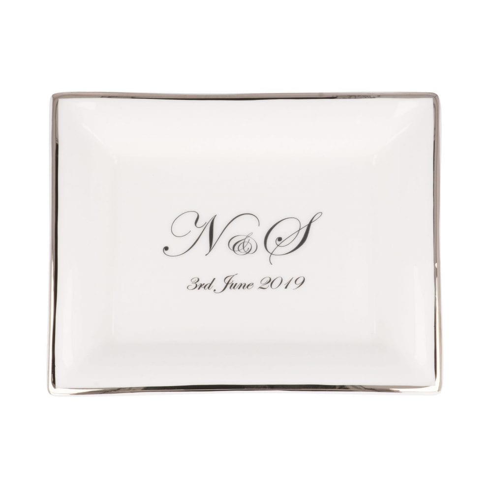 product image of rectangular dish with initials and date with Edwardian font