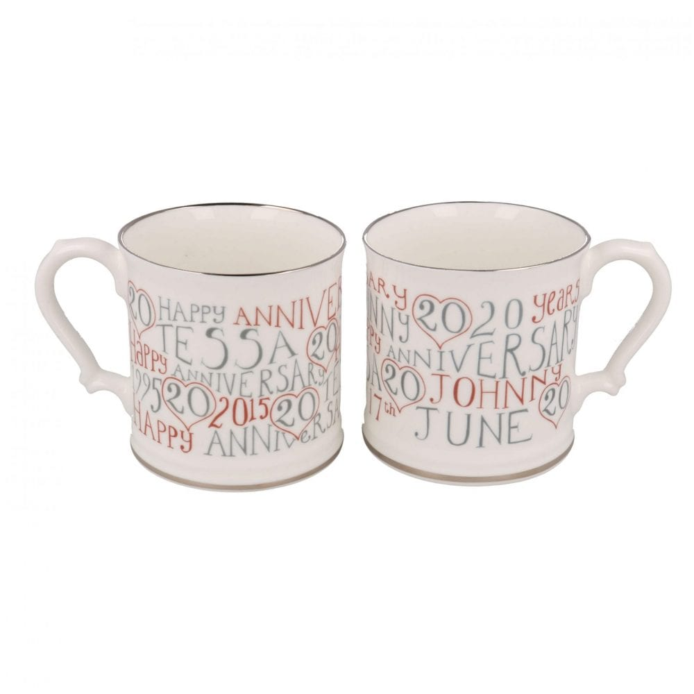 Pair of 20th Wedding Anniversary Mugs