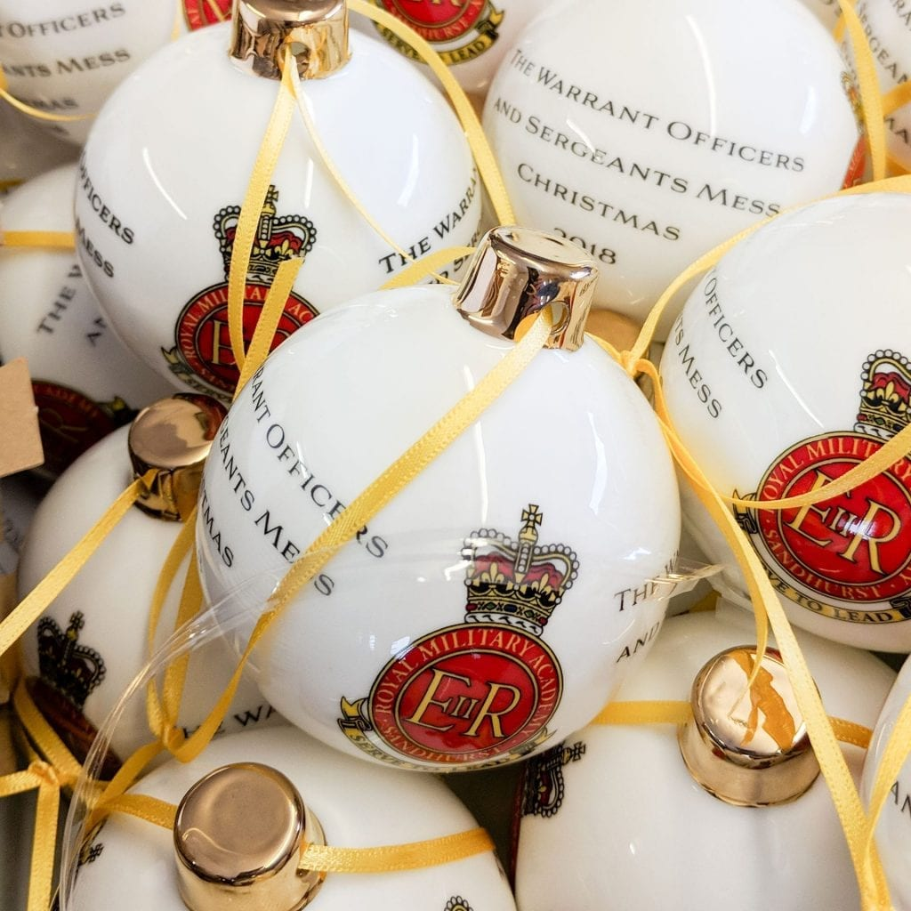 Christmas and winter related military bauble sandhurst