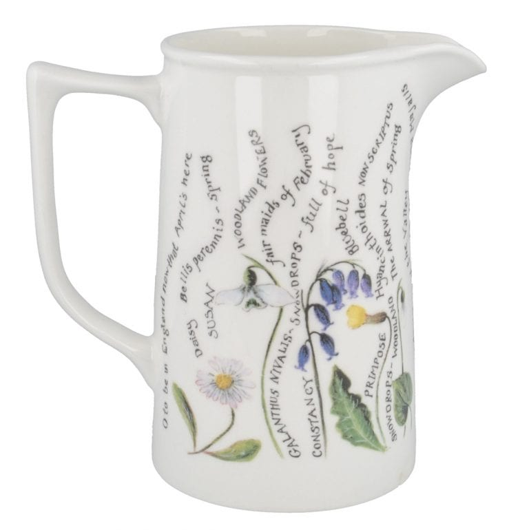 2 pint jug with painted flowers design