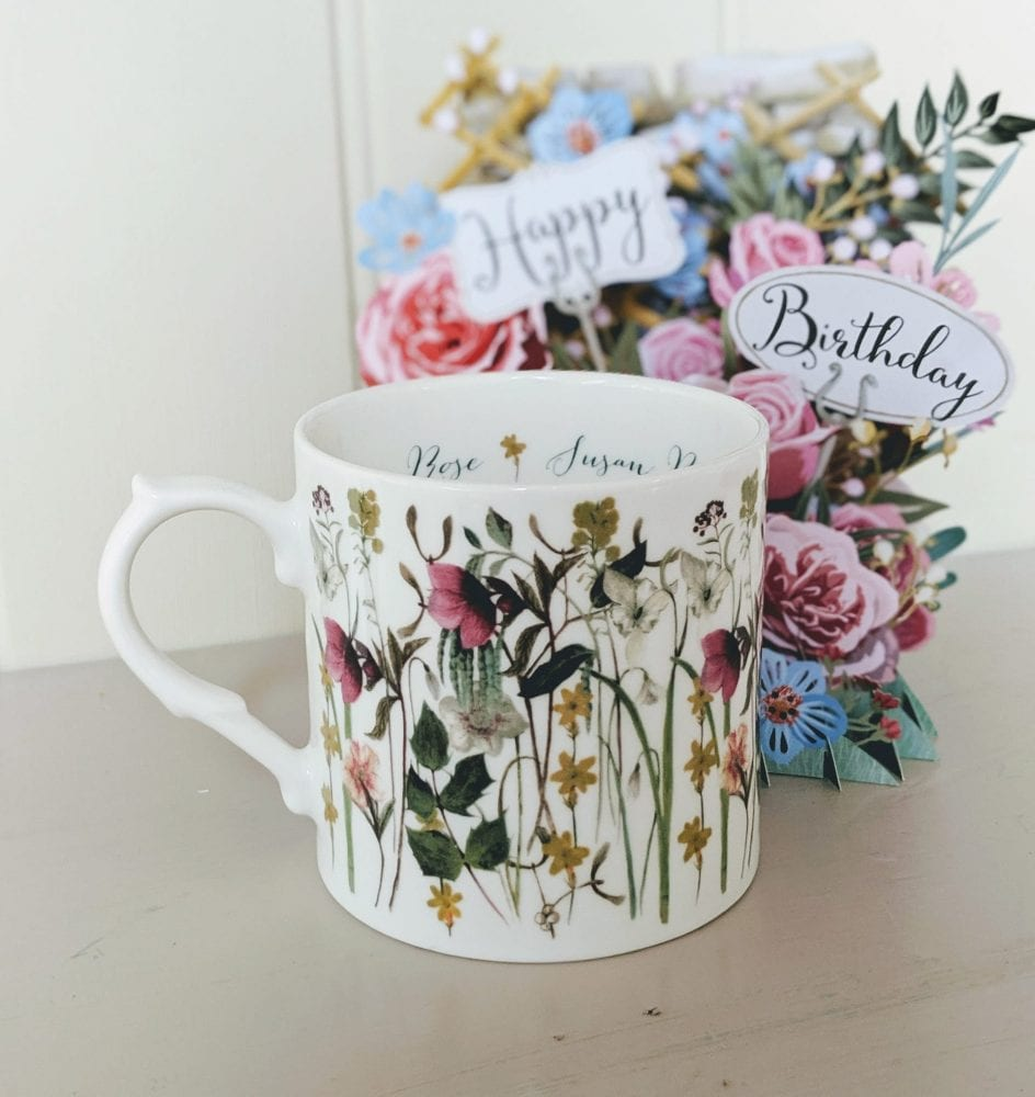 Winter flowers mug personalised lifestyle shot