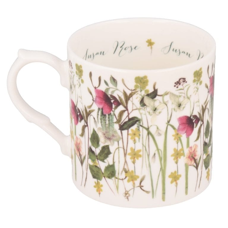 Winter flowers mug personalised showing reverse side