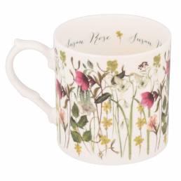 Winter flowers mug personalised showing reverse side