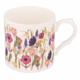 Spring Flowers mug with no personalisation handle on right