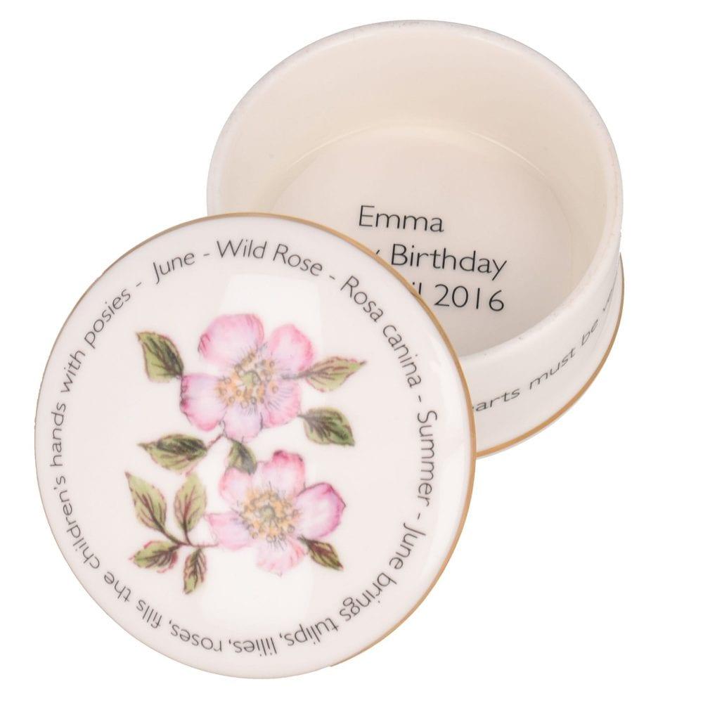Floral Trinket box - June shown open