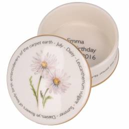 Floral Trinket box - July shown open