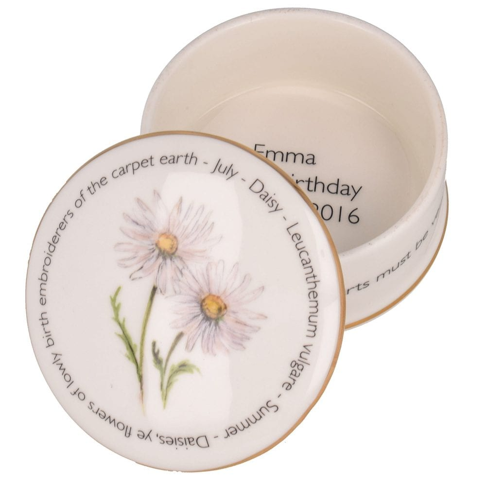 Floral Trinket box - July shown open