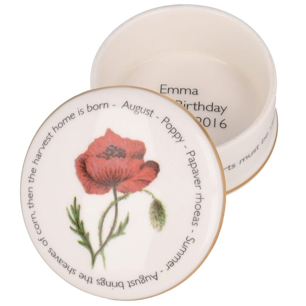 Floral Trinket box - August shown open