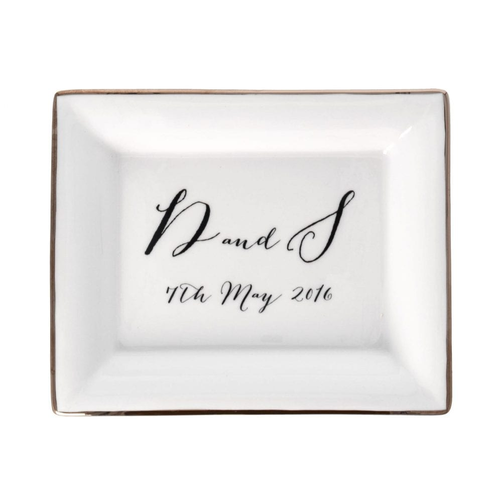 product image of rectangular dish with initials and date with Bombshell font