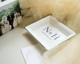 Mood shot of rectangular dish with initials and wedding date