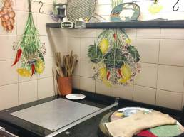 hand painted aga panel for kitchen