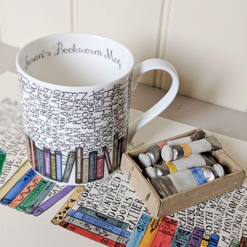 Bookworm Mug with painted design