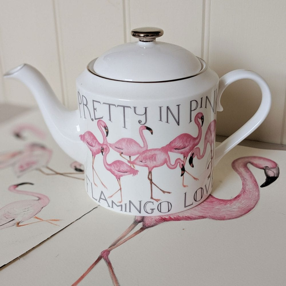 Personalised teapots flamingo design with drawing