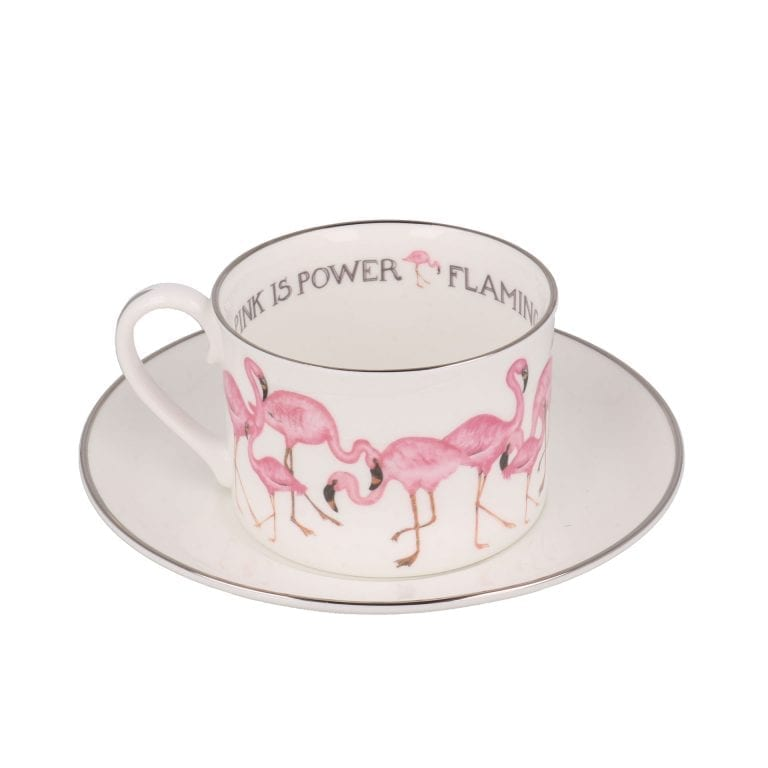 Flamingo teacup and saucer