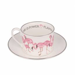 Flamingo teacup and saucer