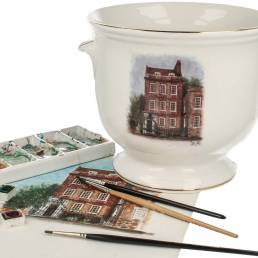 Susan's watercolour sketches on a cachepot