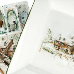 Susan's watercolour sketches on a dish