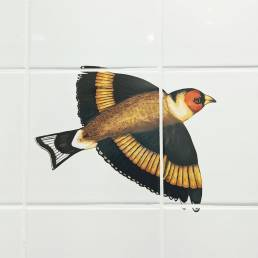 hand painted owl on tiles